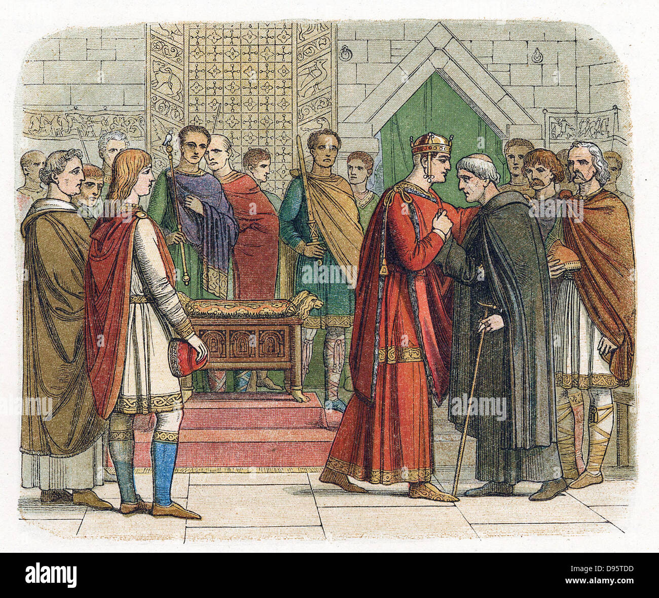 William I, The Conqueror (1027-87) King of England from 1066. William receiving the English leaders c1067. Colour - Stock Image