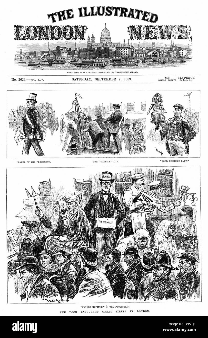 London Dock Labourers' Strike 1889: Scenes along the strikers' procession. Among aims of strike was establishment - Stock Image
