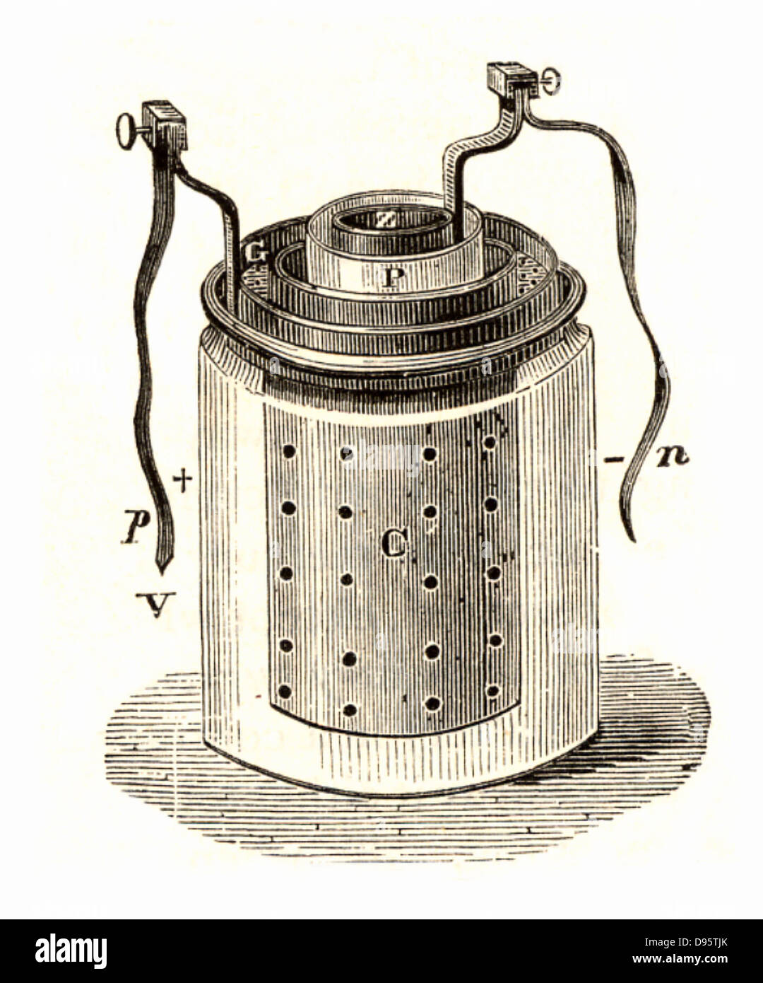 Daniell cell (1836) a wet storage battery invented by the English chemist John Frederic Daniell (1790-1845). Engraving - Stock Image