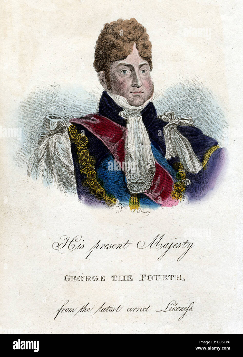 George IV (1762-1830) King of Great Britain and Ireland from 1820. Portrait from 'Memoirs of Caroline, Queen - Stock Image