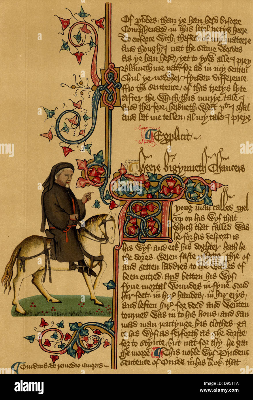Geoffrey Chaucer (c1345-1401) English poet. Equestrian portrait of Chaucer from the Ellesmere manuscript of his - Stock Image