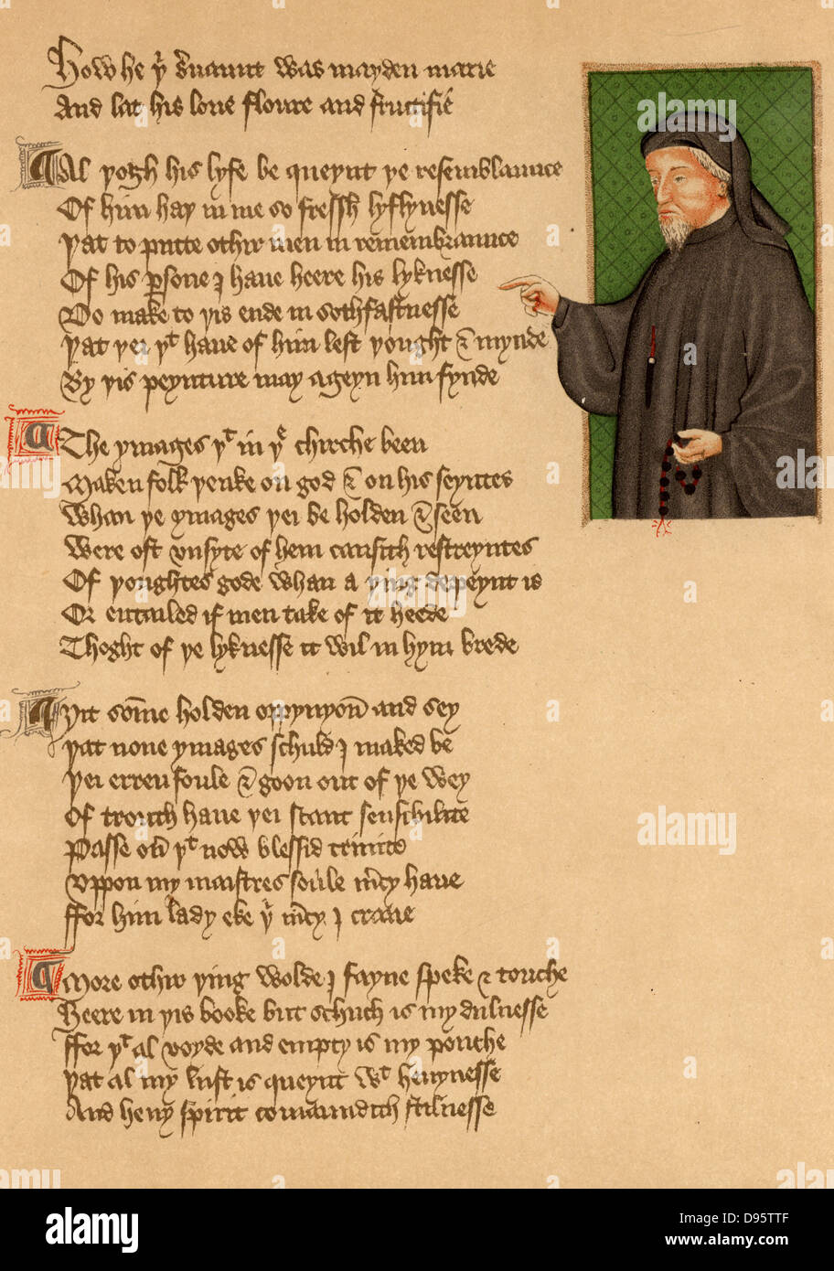 Geoffrey Chaucer (c1345-1401) English poet. Portrait from an early 15th century manuscript of the poem 'De Regimine - Stock Image