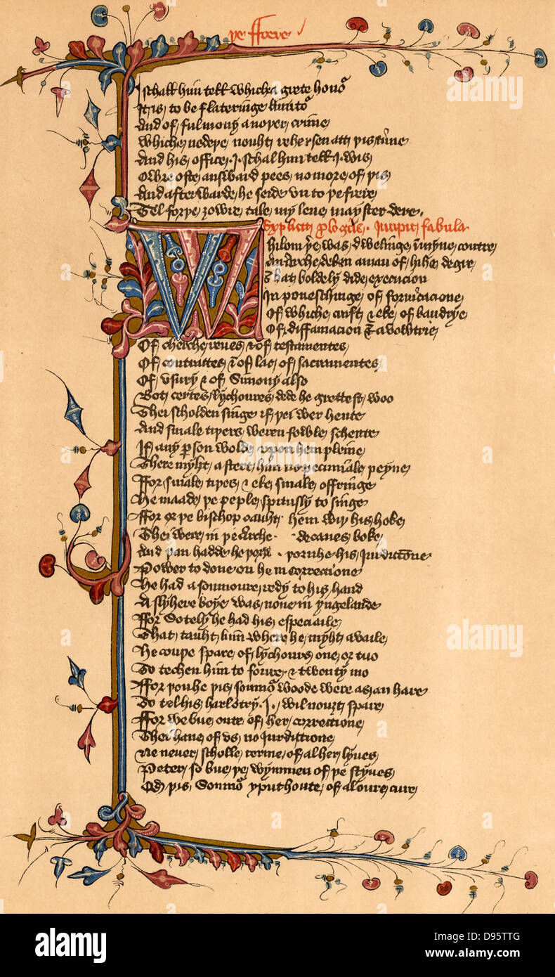 Geoffrey Chaucer (c1345-1401) English poet. Page of the Lansdowne manuscript of his 'Canterbury Tales' relating - Stock Image