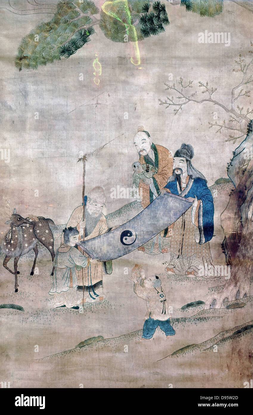 Three sages of T'ai Chi surrounded by symbols of long life and immortality (tree, deer, peach) In centre is - Stock Image
