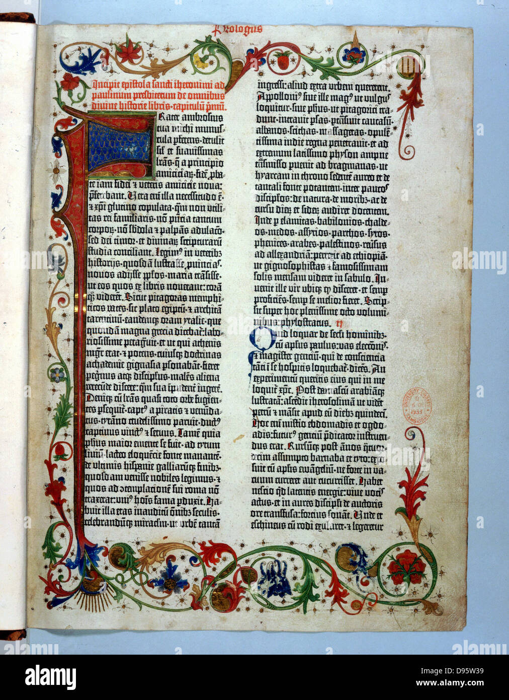 Page of 'Bible' printed by Gutenberg, 1456. Illuminated border typical of a manuscript. - Stock Image