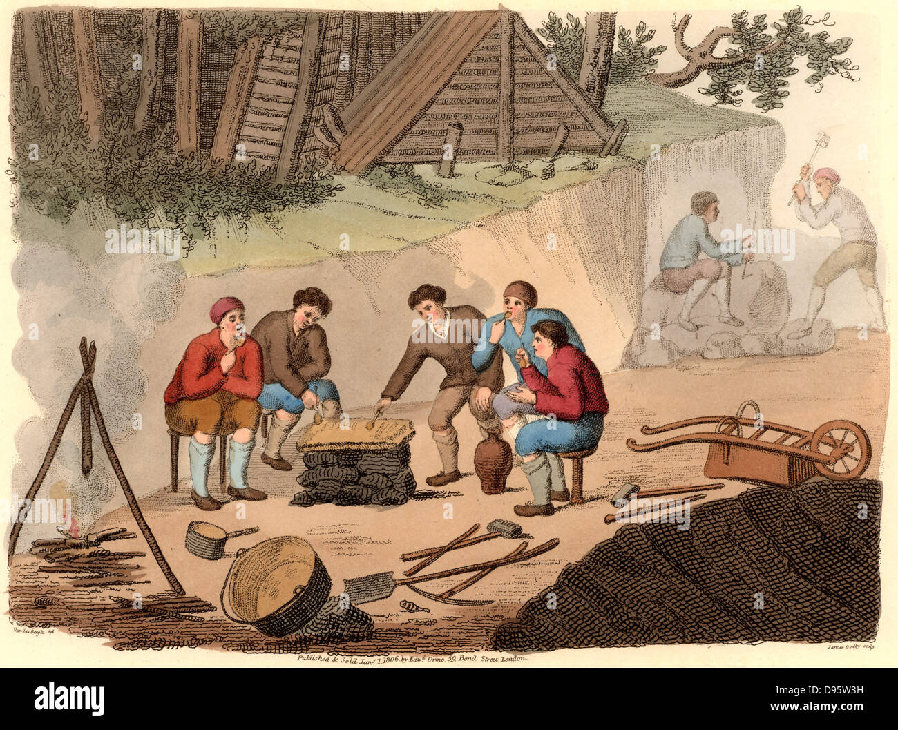 The Quarryman of Grisante'.  The stone quarry workers (miners) are enjoying a meal of polenta and wine.  The - Stock Image