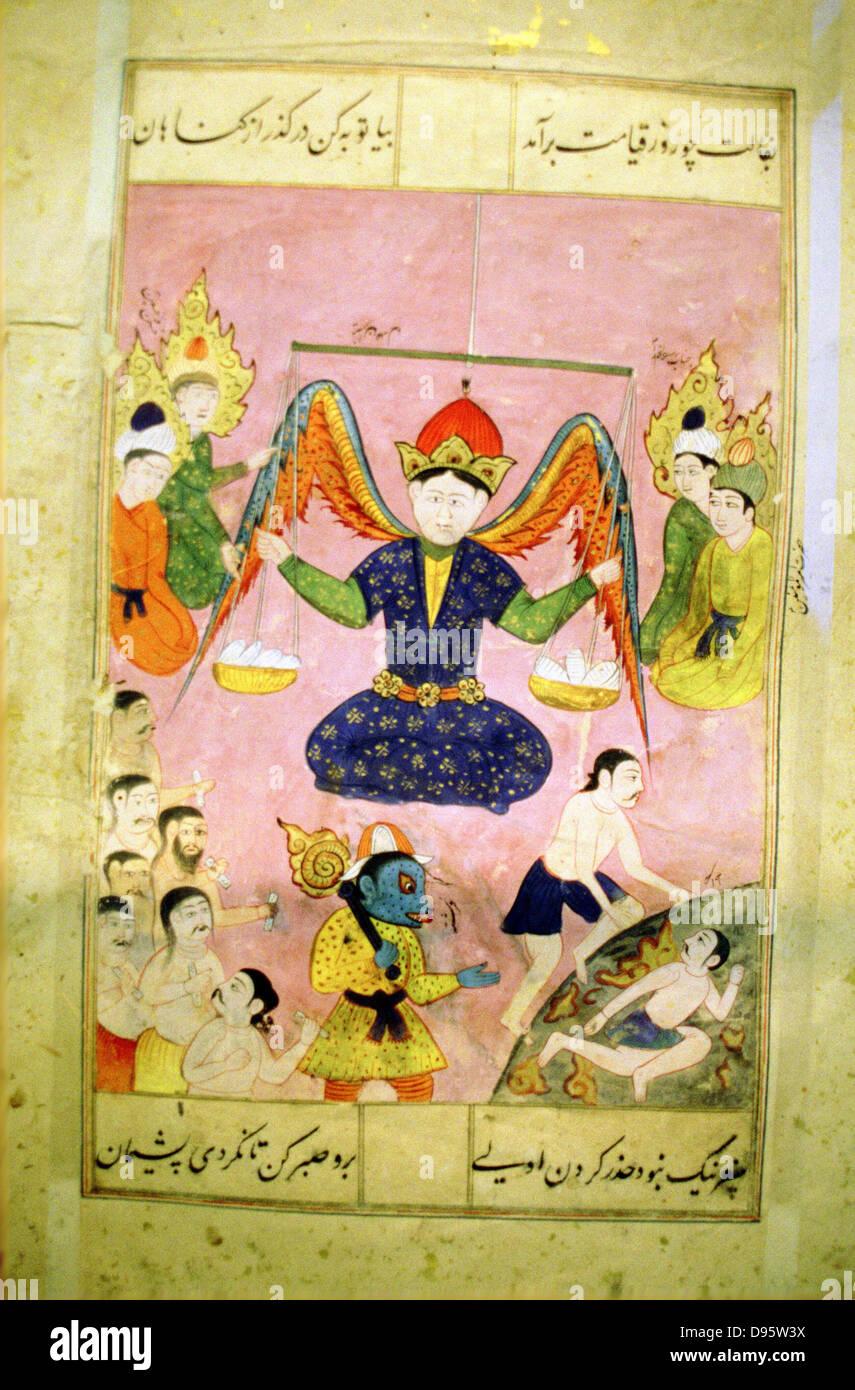 Arab manuscript depicting angel weighing a soul. - Stock Image