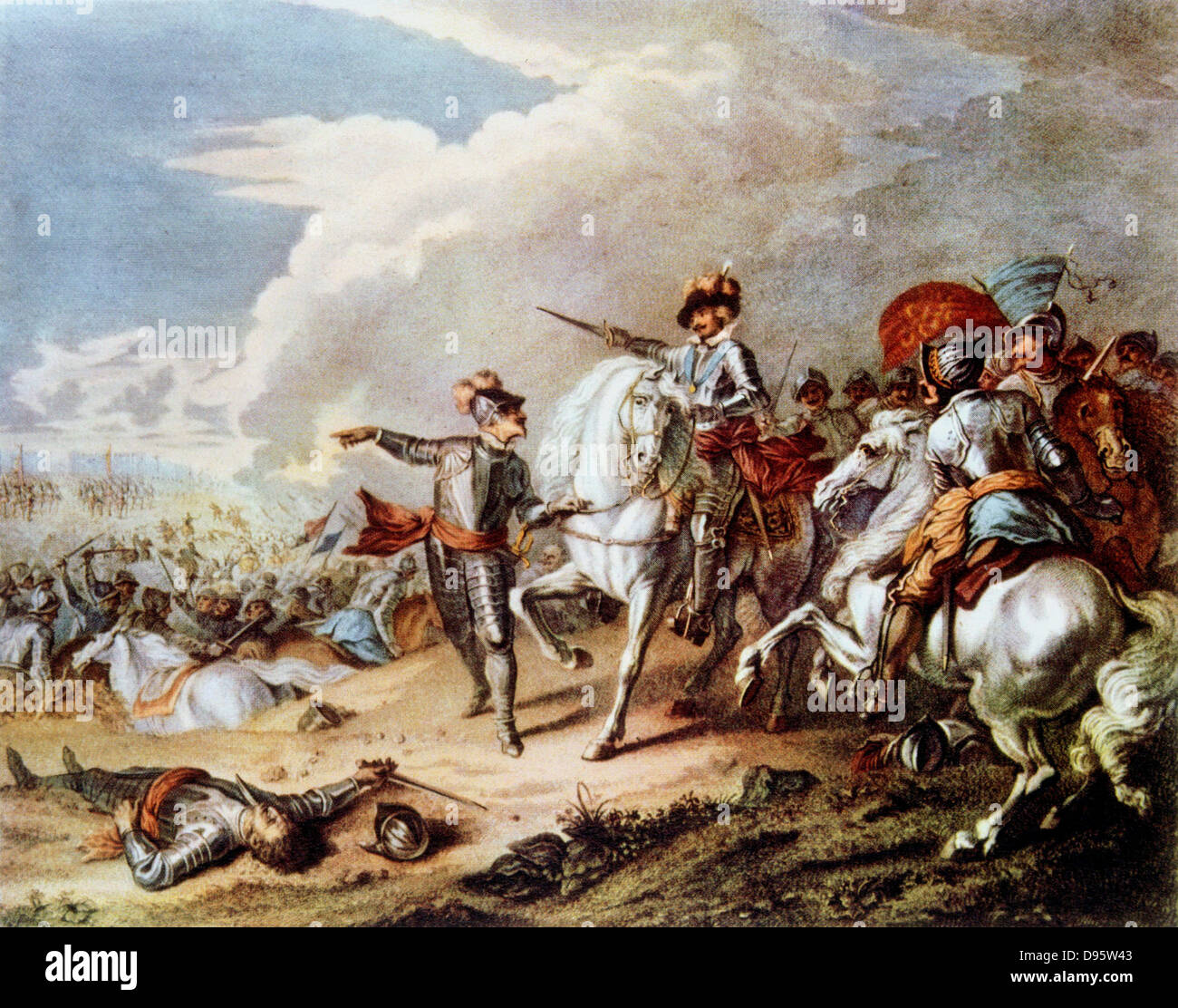 English Civil Wars: Battle of Naseby 14 June 1645. Decisive victory over Royalists by Parliamentarians under Fairfax - Stock Image