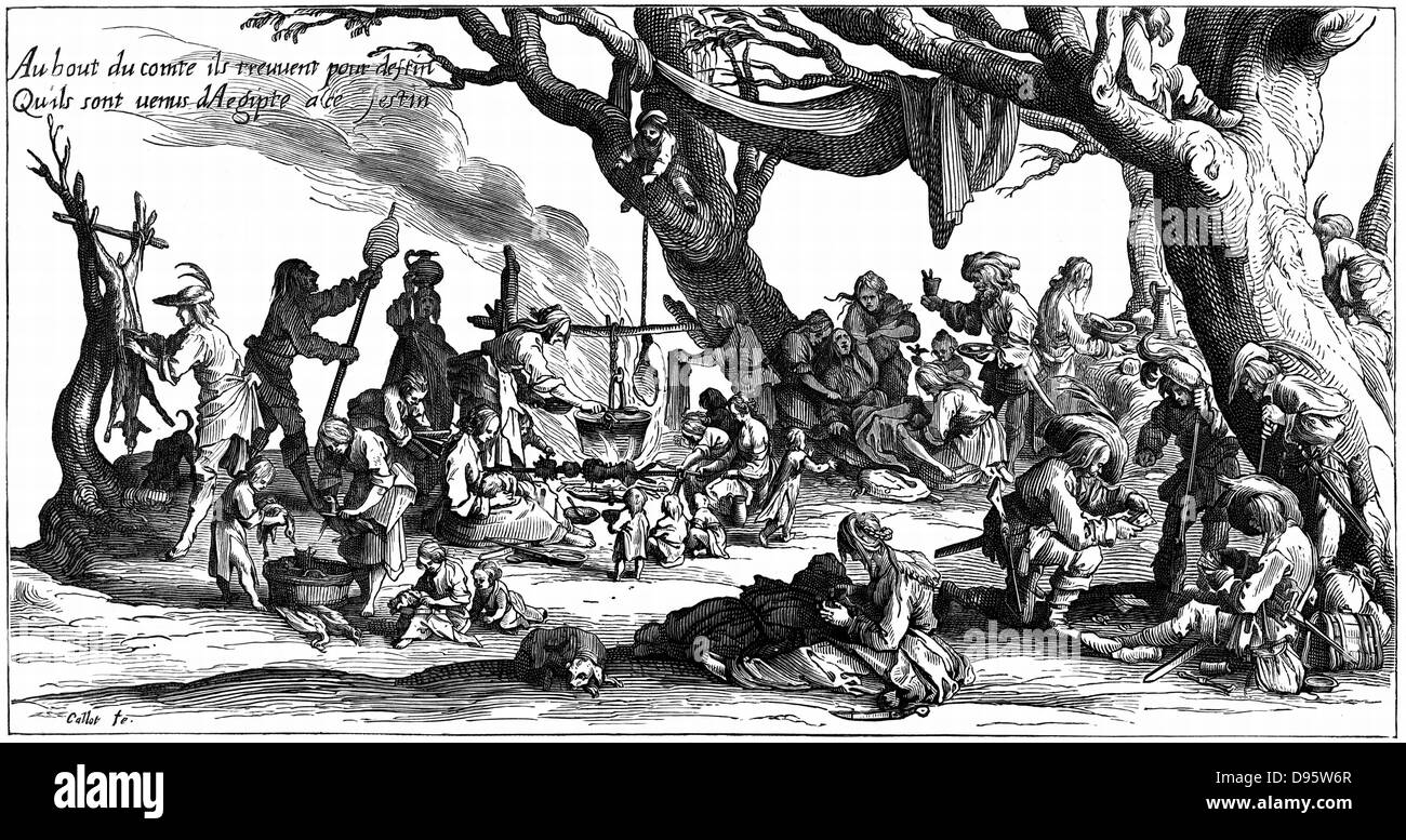 Encampment of central European gipsies also known as Egyptians. After engraving of 1604 by Jacques Callot.  Deer - Stock Image