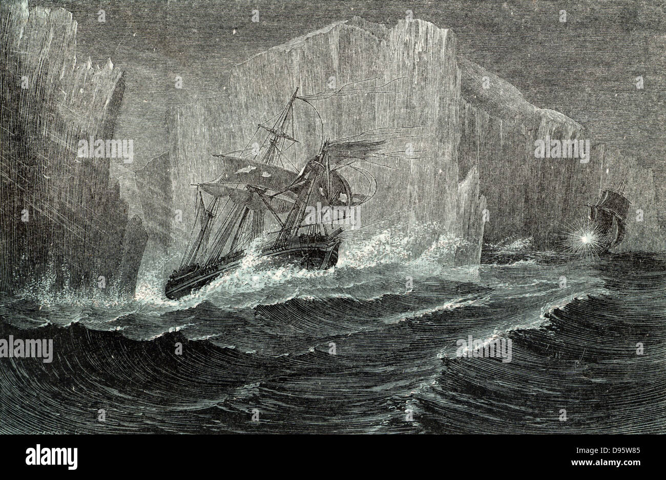 The 'Erebus' and the 'Terror' Among Icebergs. Sir John Franklin (1786-1847) British naval officer - Stock Image