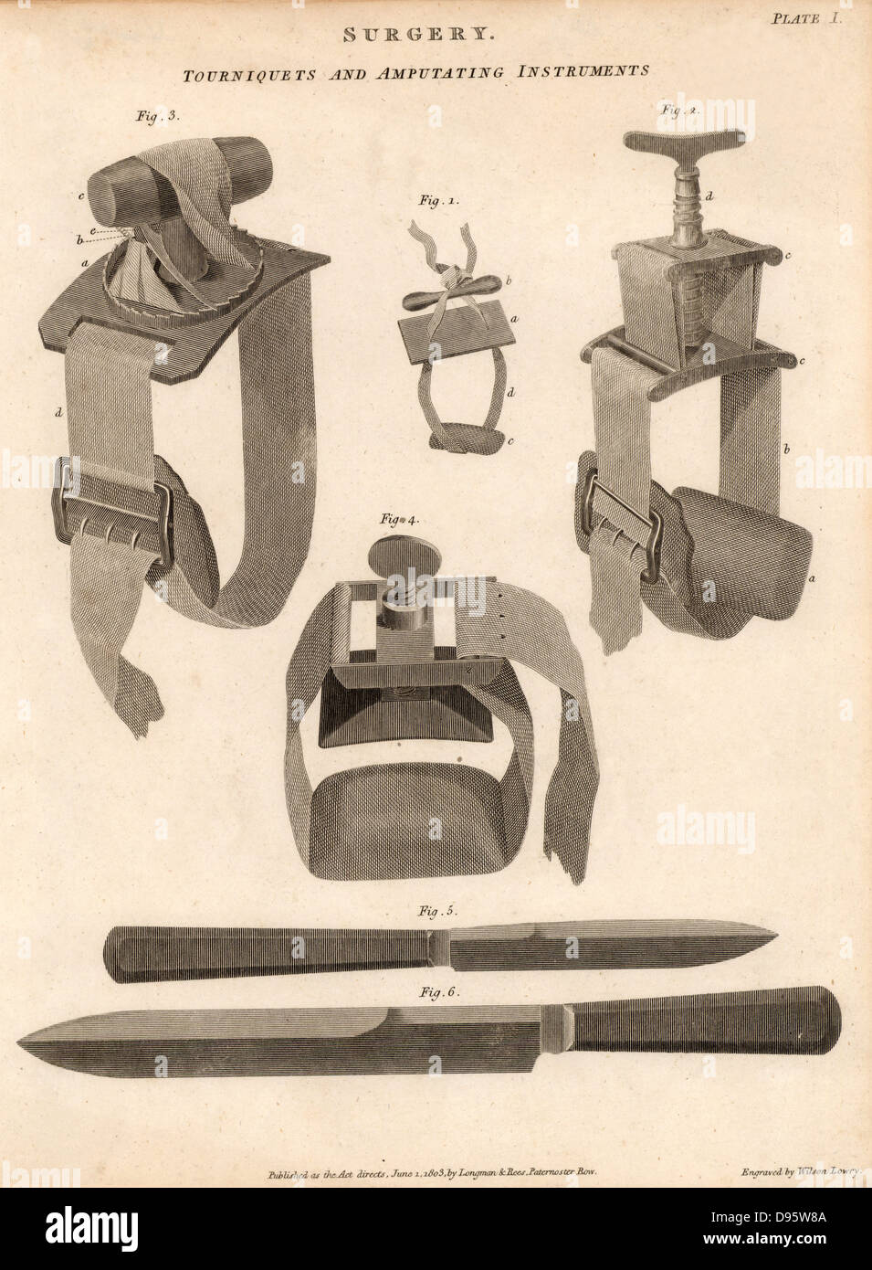 Knives and tourniquets used for amputation. The tourniquets not only stemmed the flow of blood, they also induced - Stock Image