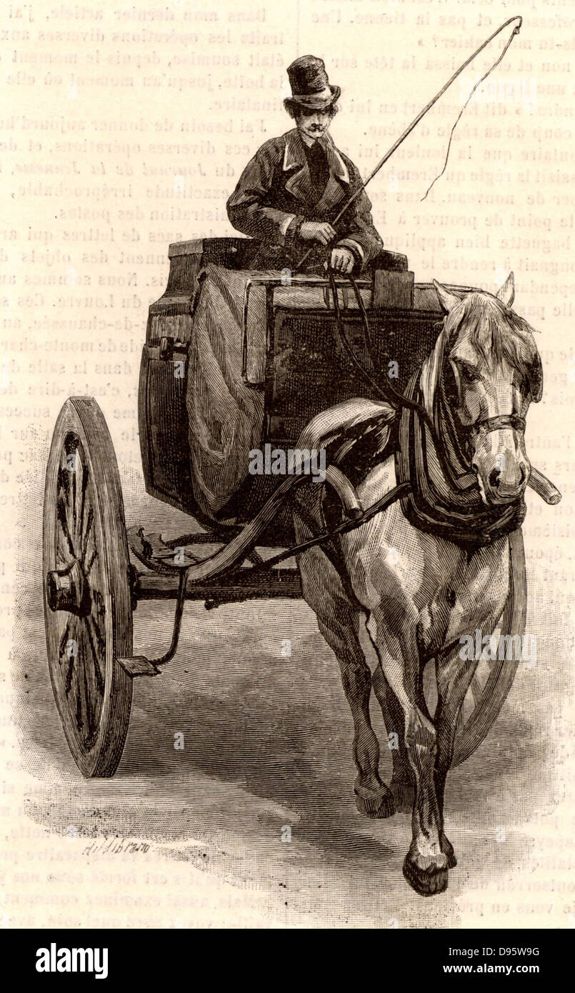 French postal service.  A Tilbury, a light 2-wheeled horse-drawn vehicle used in the Paris the postal service for - Stock Image