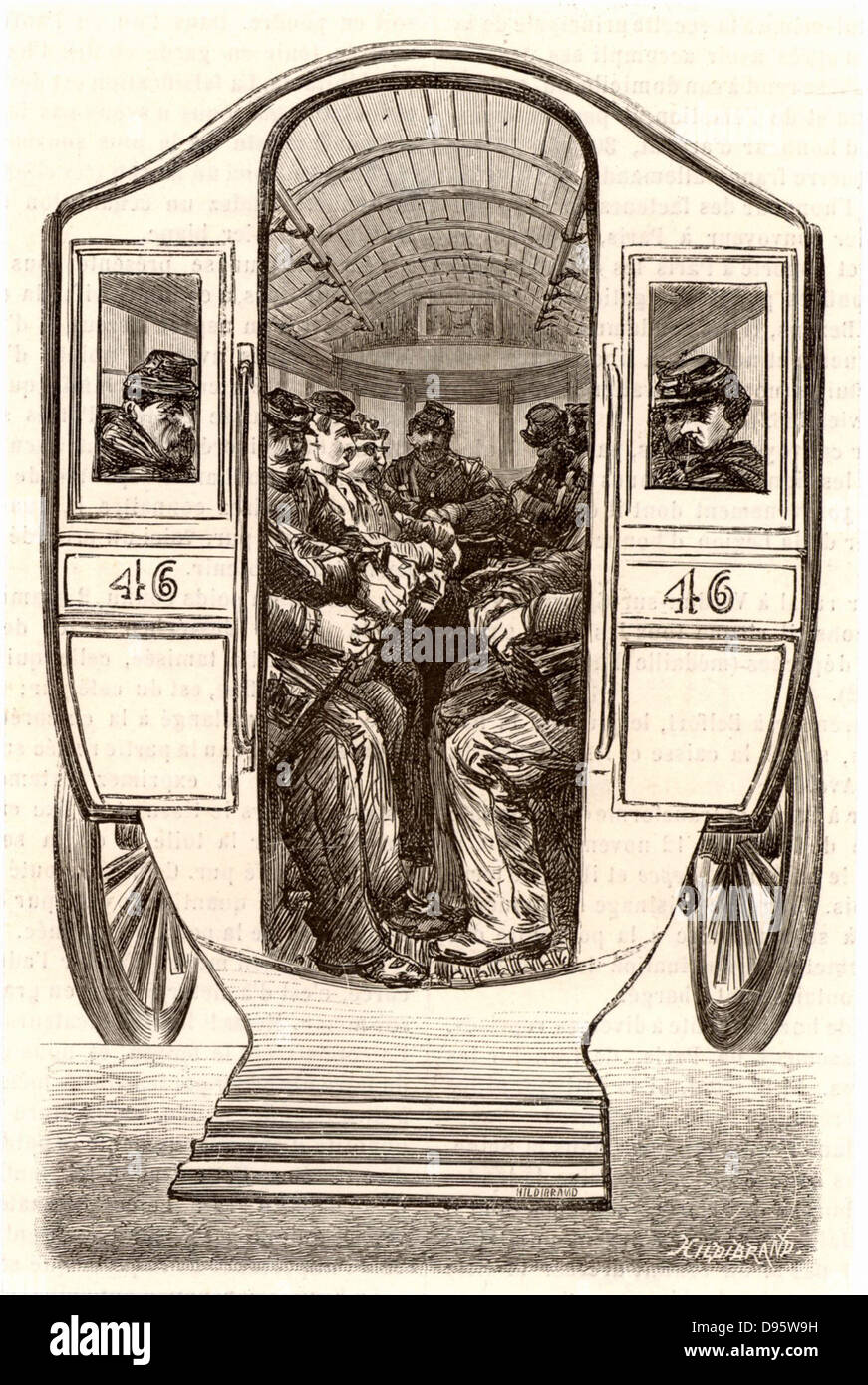 French postal service. Paris postmen being transported by horse bus to the beginning of their rounds. Engraving - Stock Image