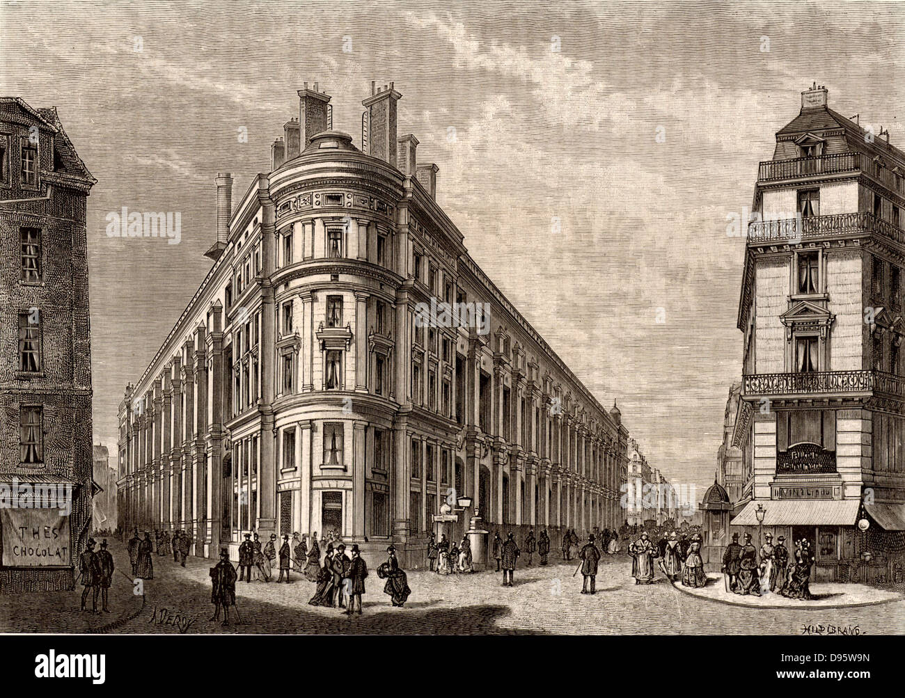 French postal service. The new main Post Office, rue du Louvre, Paris, France. Engraving from 'Le Journal de - Stock Image