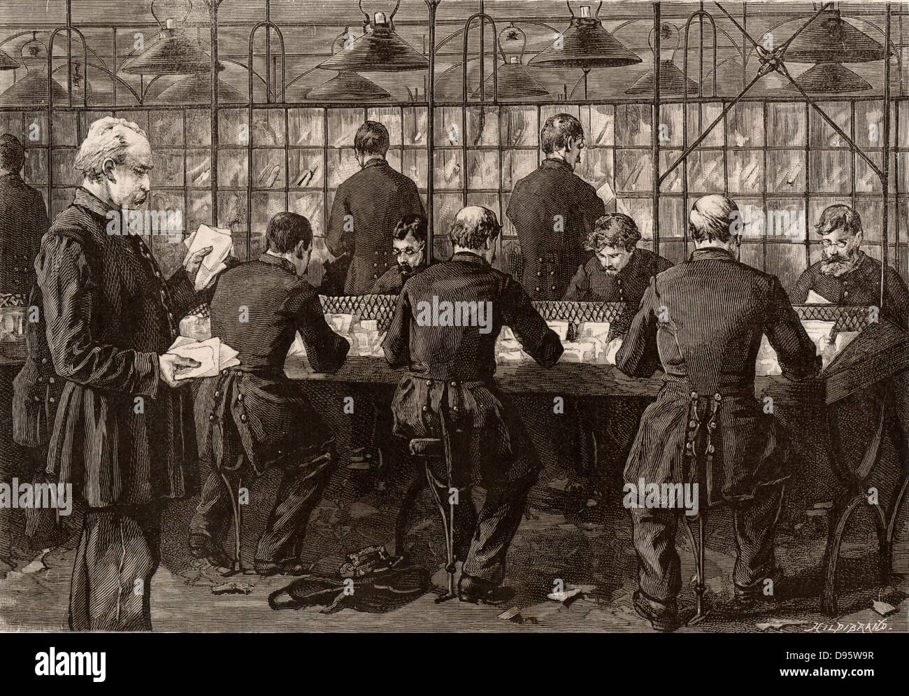 French postal service.  Men working in the main letter sorting office, Paris, France.  Engraving from 'Le Journal - Stock Image