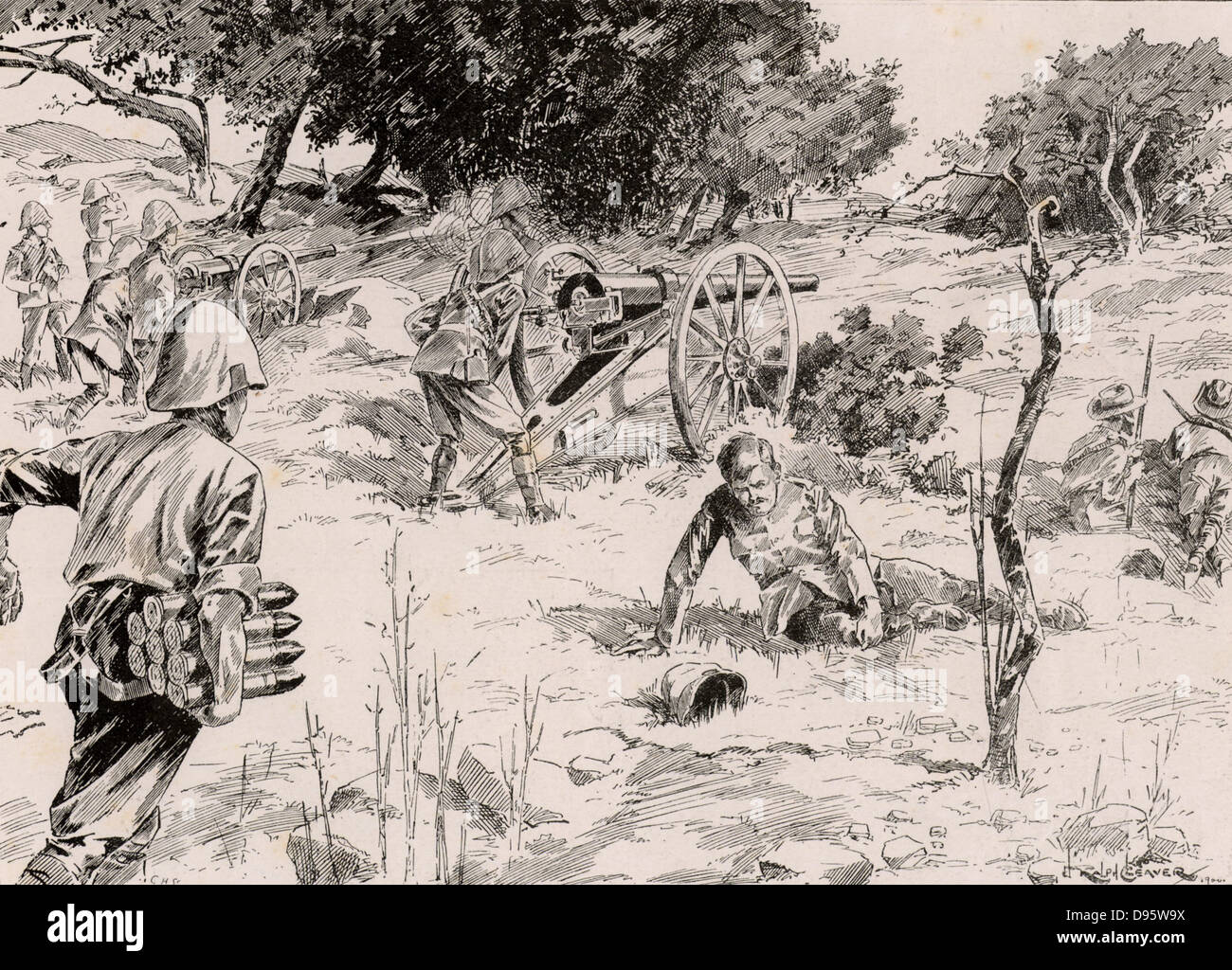 Second Boer War, also called the South African War and the Anglo-Boer War.  On the way to relieve Mafeking on 17 - Stock Image