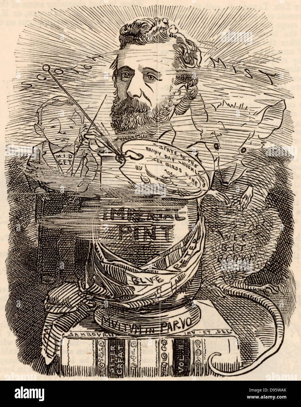 Peter Graham (1836-1921) Scottish painter. Cartoon by Edward Linley Sambourne in the Punch's Fancy Portraits - Stock Image