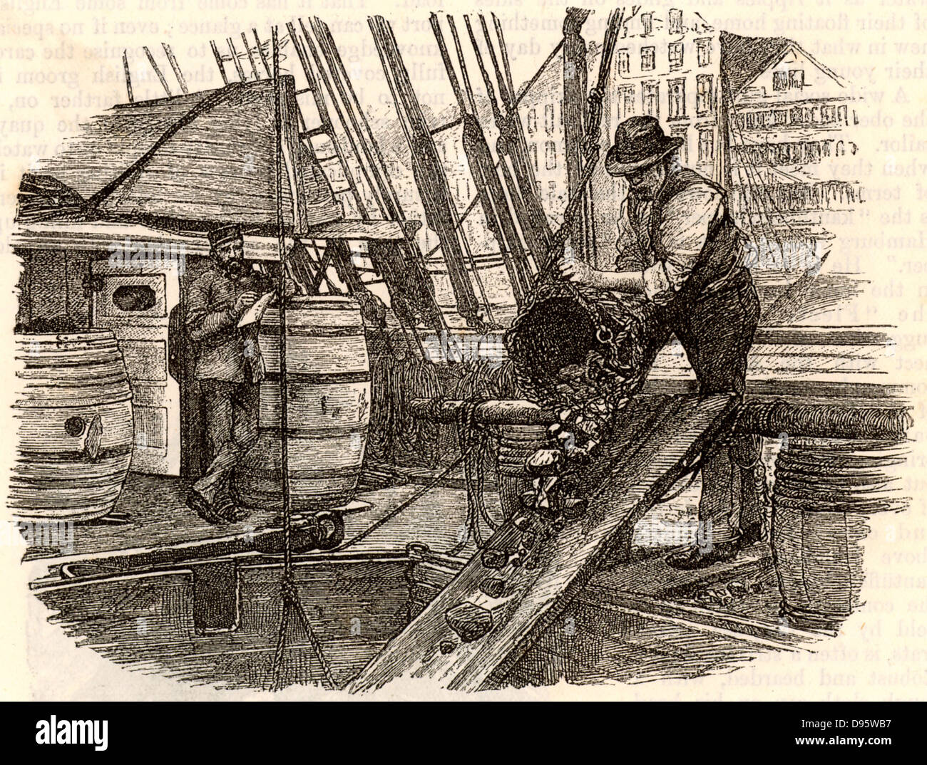Coaling a boat, Hamburg, Germany. Steam ships had to carry enough coal in their holds to power their engines until - Stock Image