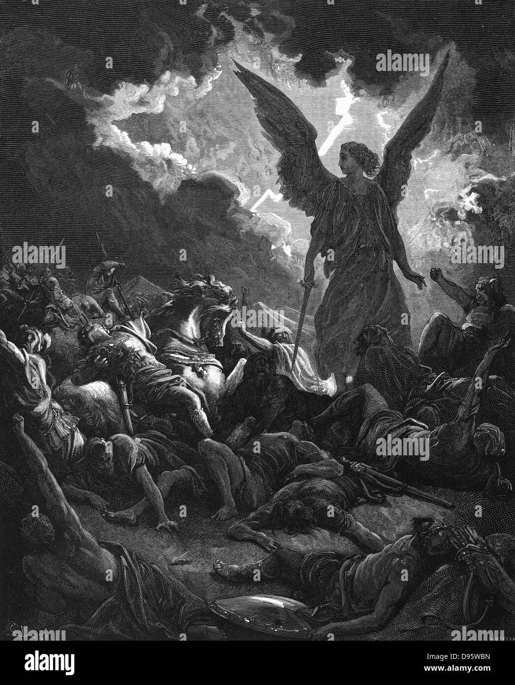 Archangel Gabriel, instrument of God,  '..smote in the camp of the Assyrians? So Sennacherib king of Assyria - Stock Image