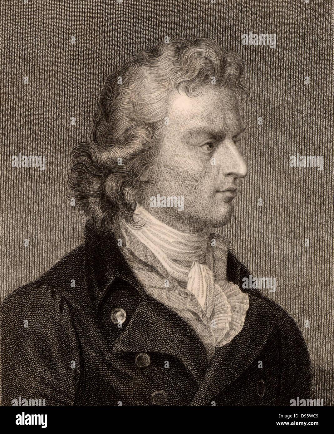 Johann Christoph Friedrich Schiller (1759-1805) German poet, dramatist and historian, writer of 'Sturm and Drang' - Stock Image