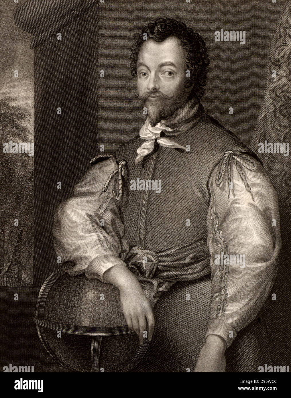 Francis Drake (c1540-1596) English navigator and privateer. Engraving from 'Portraits of Illustrious Personages - Stock Image