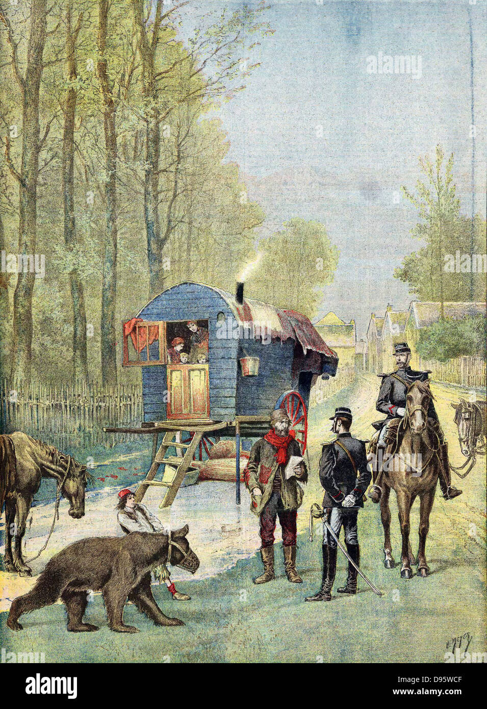 Gendarmes taking census forms to encampment of itinerant gipsies in their caravan. Boy in foreground leads muzzled - Stock Image