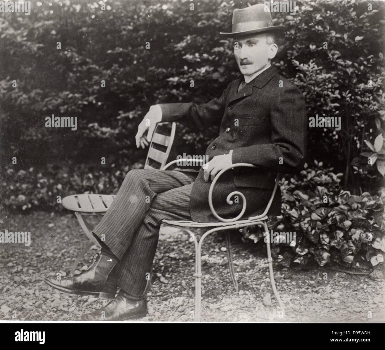 Henri Bergson (1859-1941) French philosopher, sitting in his garden. - Stock Image