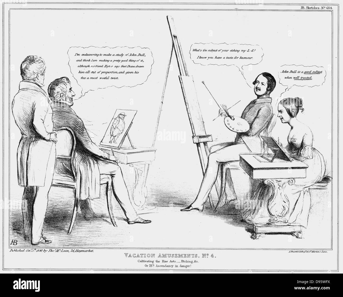 A young Queen Victoria and Prince Albert join the Duke of Wellington for some holiday sketching and painting. Wellington - Stock Image