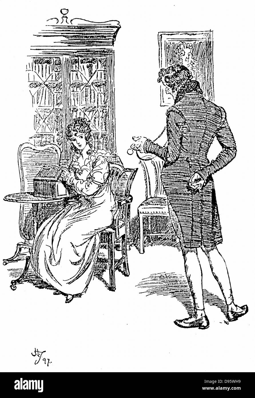 Jane Austen 'Persuasion'. Austen's last novel published 1818. Anne Elliot complimented by her cousin - Stock Image