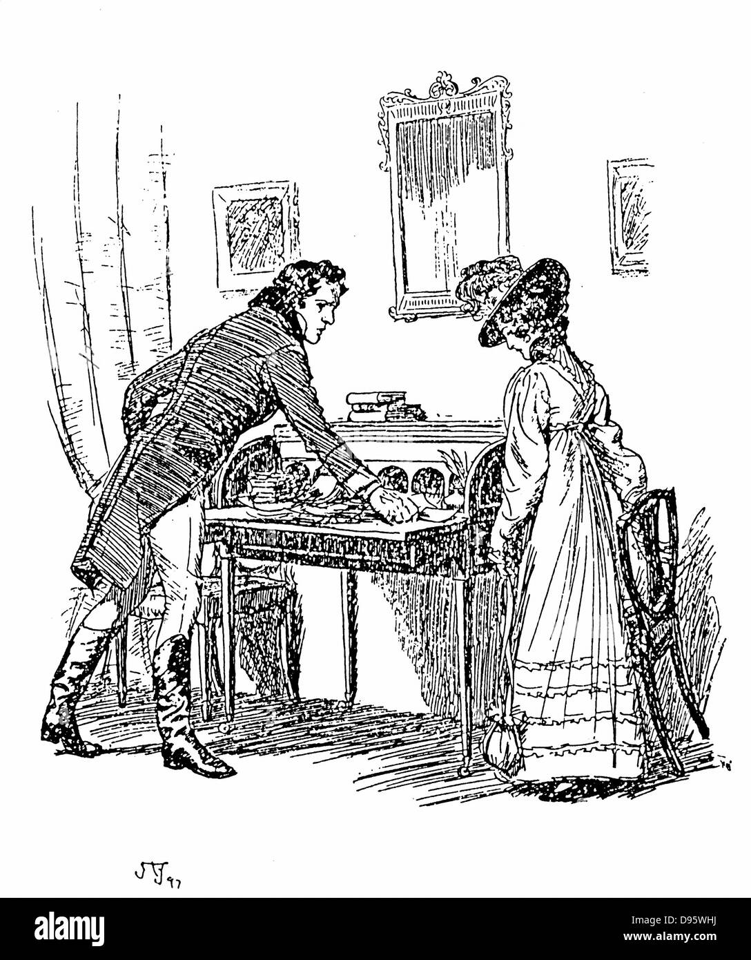 Jane Austen 'Persuasion'. Austen's last novel published 1818. Captain Wentworth giving Anne Elliot his - Stock Image