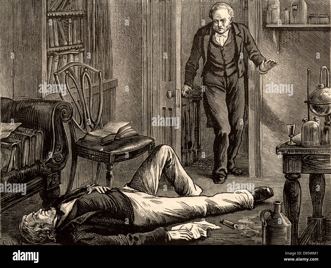 James Young Simpson, having experimented on himself with chloroform, found unconcious on the floor by his butler. - Stock Image