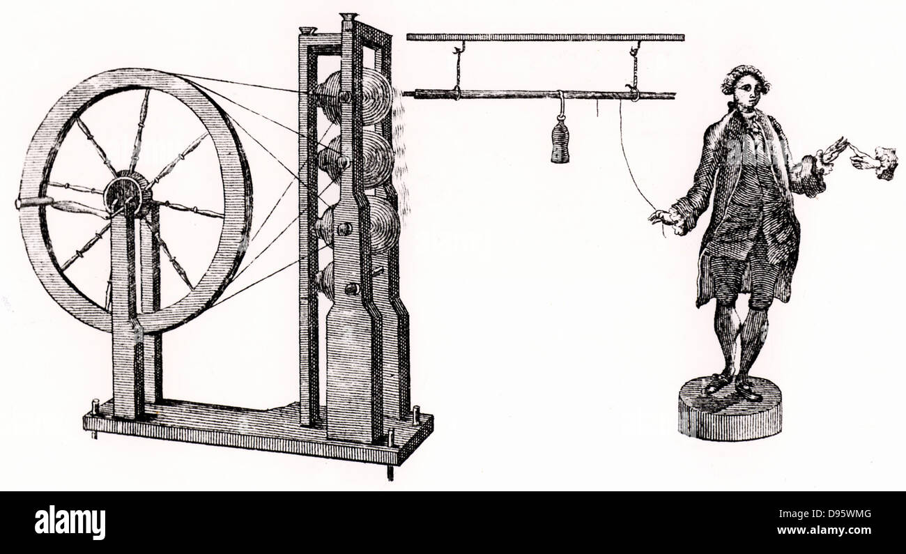 William Watson's (1715-1787) glass-globe electrical machine generating a charge which is passed through the - Stock Image