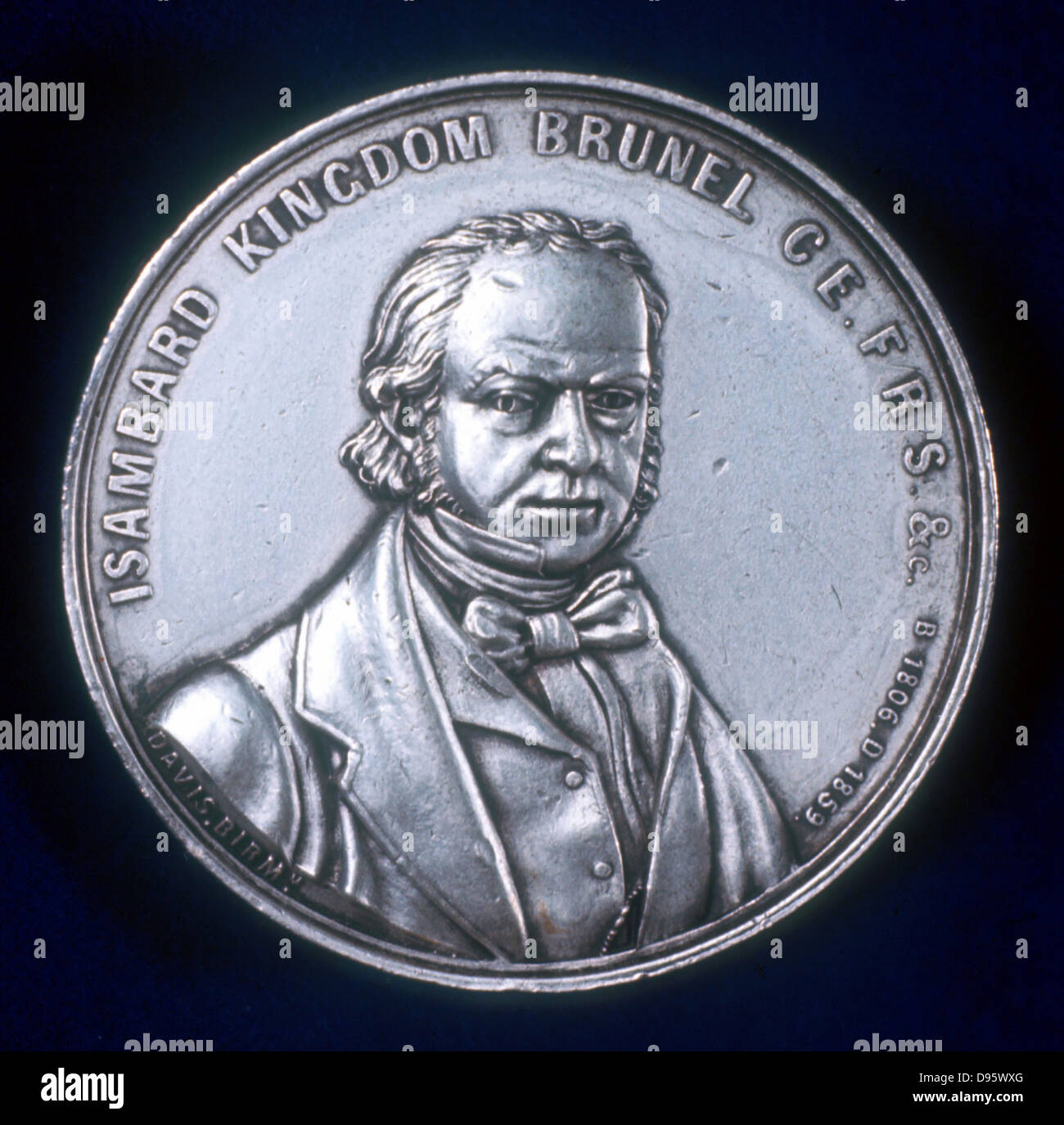Isambard Kingdom Brunel (1806-1859) English civil and mechanical engineer. From obverse of medal commemorating his - Stock Image