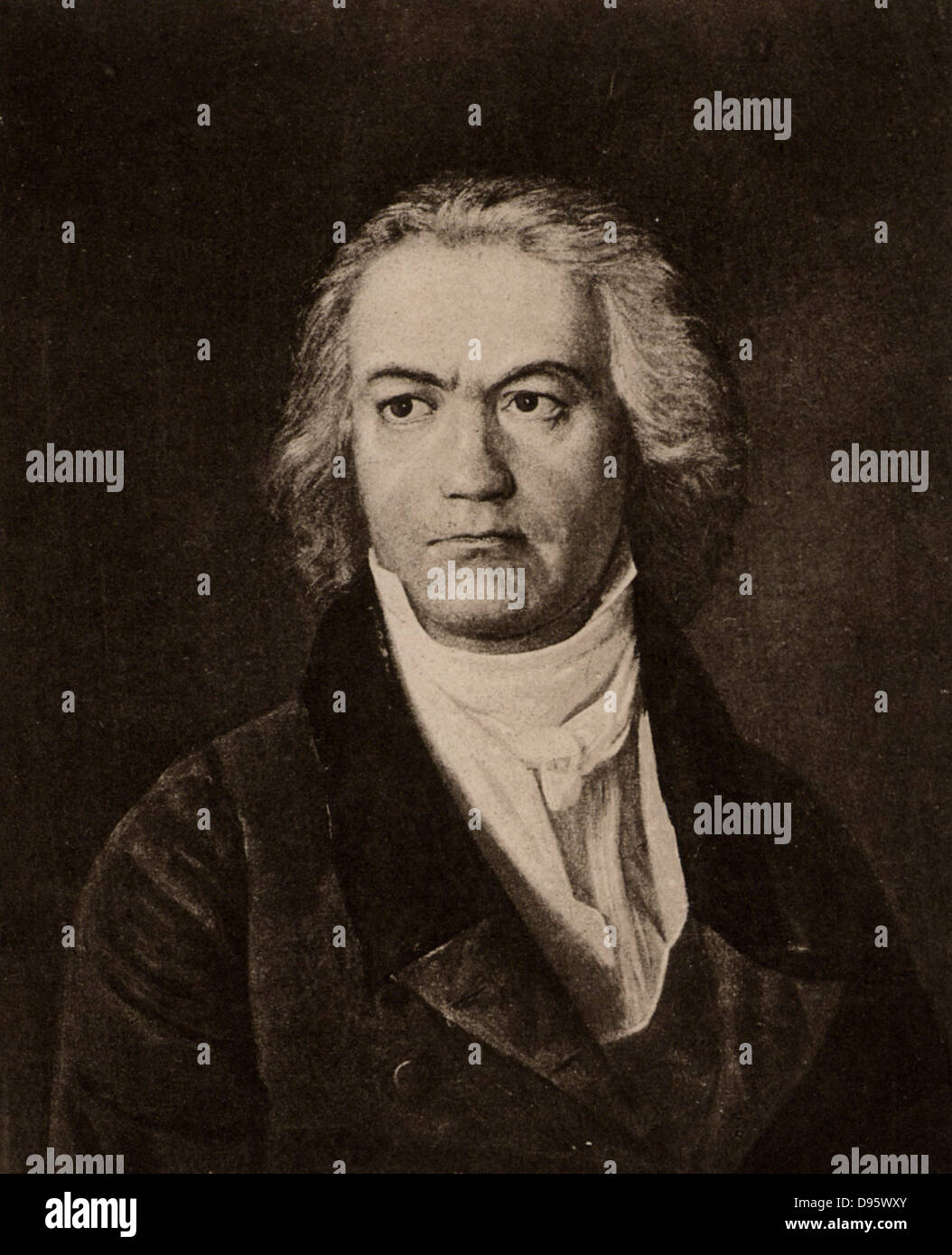 Ludwig van Beethoven (1770-1827) German composer, a bridge between the Classical and Romantic styles. Lithograph. - Stock Image