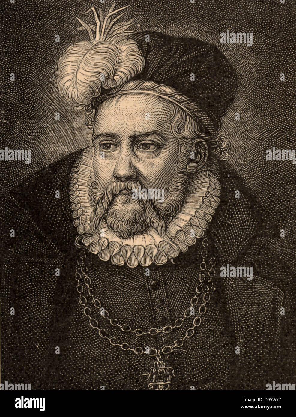 Tycho Brahe (Tyge Ottesen Brahe - 1546-1601) Danish astronomer, astrologer and alchemist who built astronomical - Stock Image