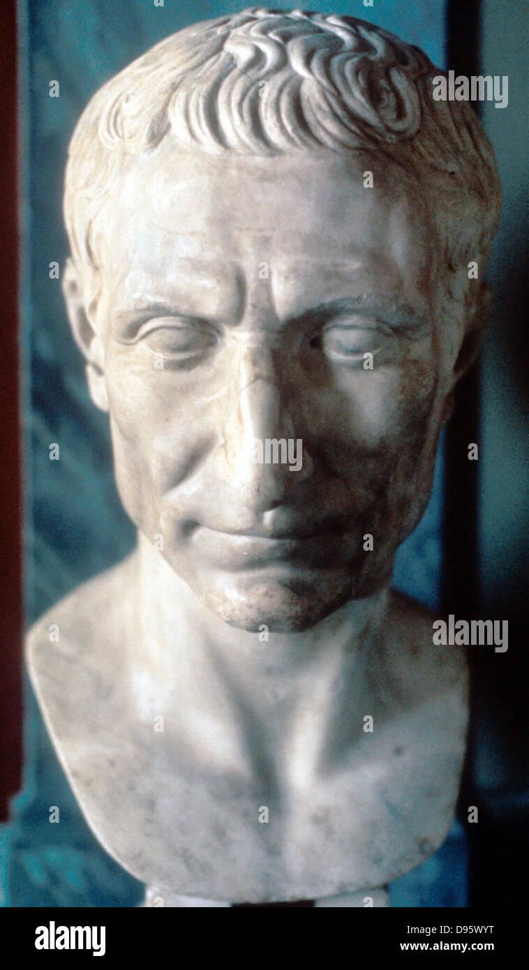 Julius Caesar (c100-44 BC) Roman soldier and statesman. Marble bust of 50 BC. Vatican Museum, Rome - Stock Image