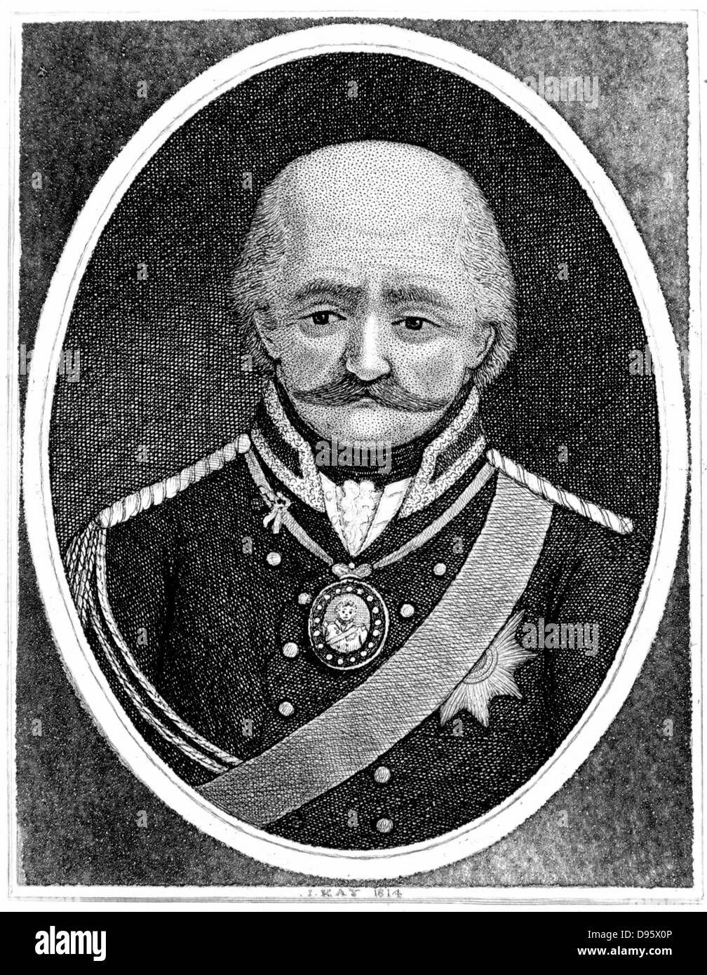 Gebbard Leberech Von Blucher (1742-1819) Prussian general. Important contribution to Wellington's victory at - Stock Image