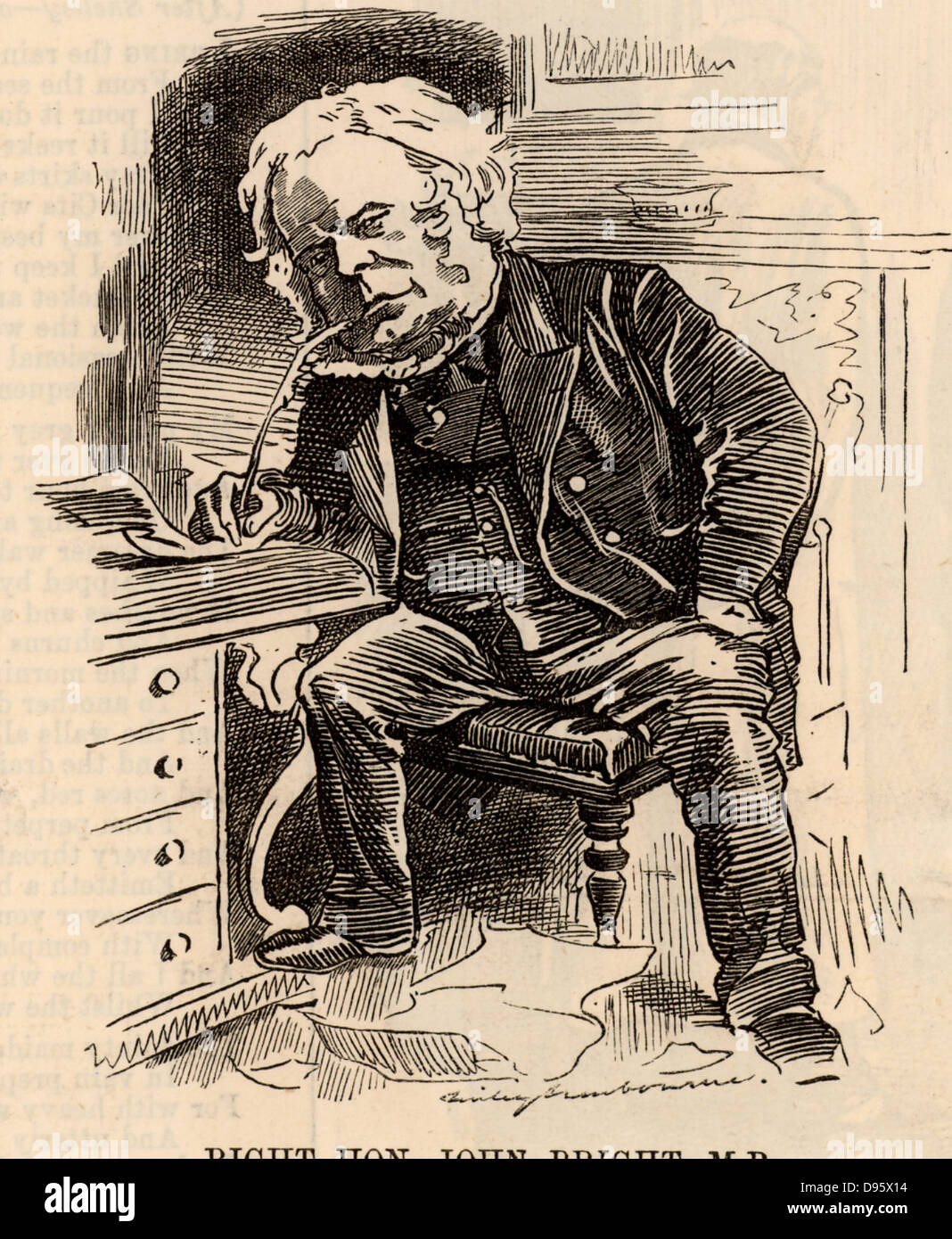 John Bright (1811-1889) English radical statesman, born in Rochdale, Lancashire. Anti-Corn Law League. Reform Act Stock Photo