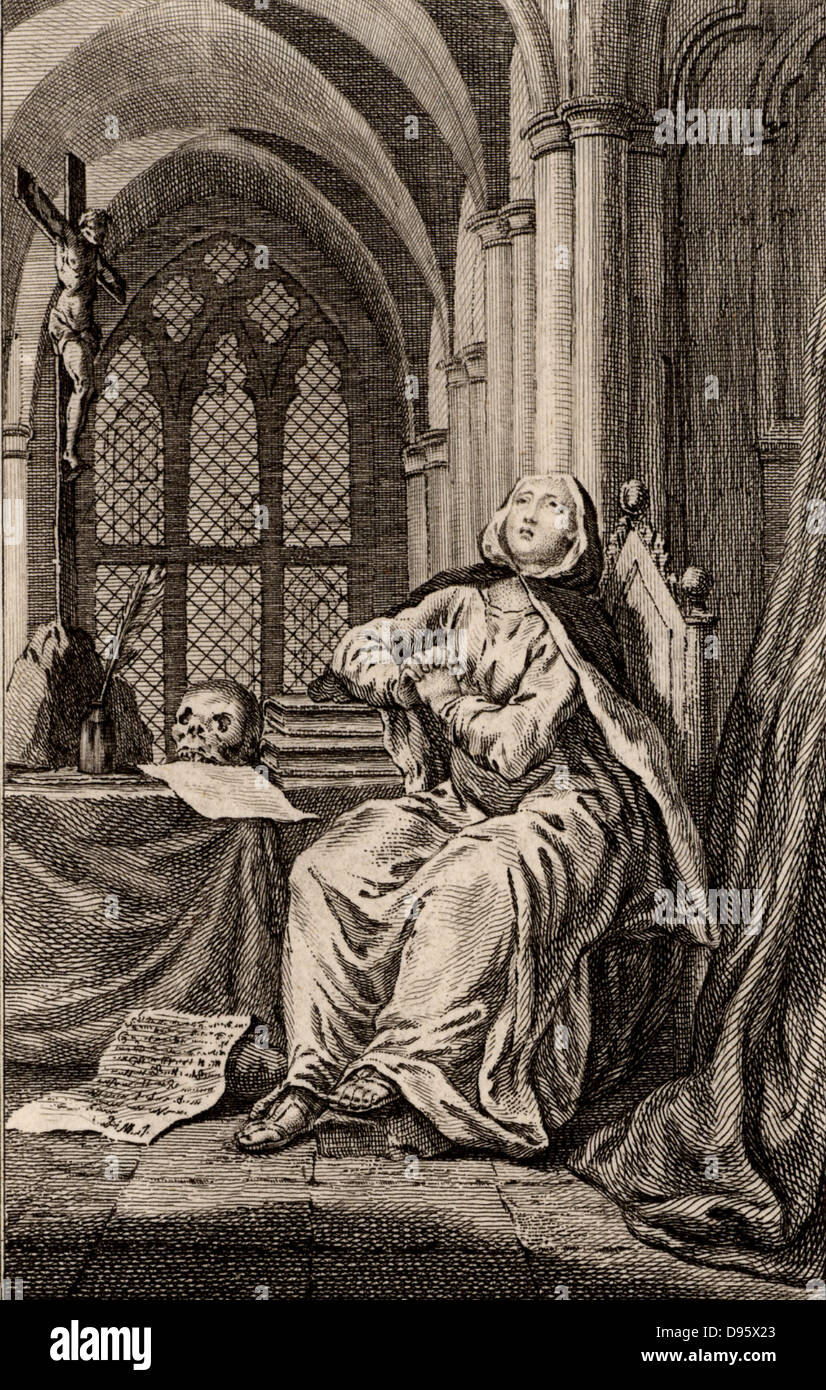Heloise (1101-1162) French nun and Latin, Greek and Hebrew scholar.  The love story of Heloise and Pierre Abelard - Stock Image