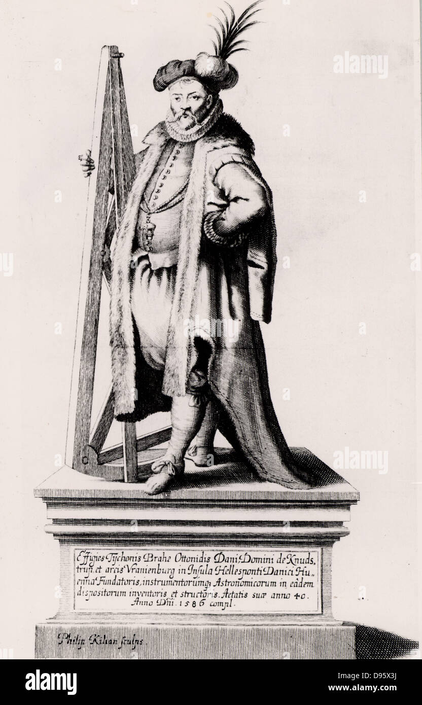 Tycho Brahe holding a sextant. Engraving from his 'Historia Coelestis' (1666). Tycho Brahe (Tyge Ottesen - Stock Image
