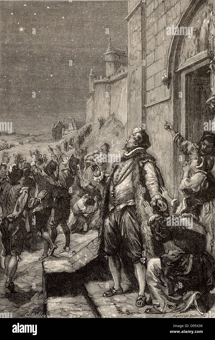 Artist's impression of Tycho on his way home on the night of 11 November 1572 observing an unfamiliar bright - Stock Image