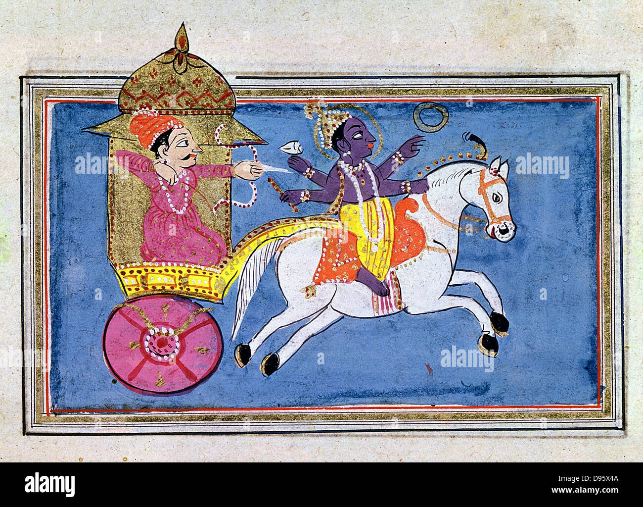 Krishna, Hindu deity, an avatar of Vishnu. 17th century illustration for epic poem 'Mahabharata' showing - Stock Image