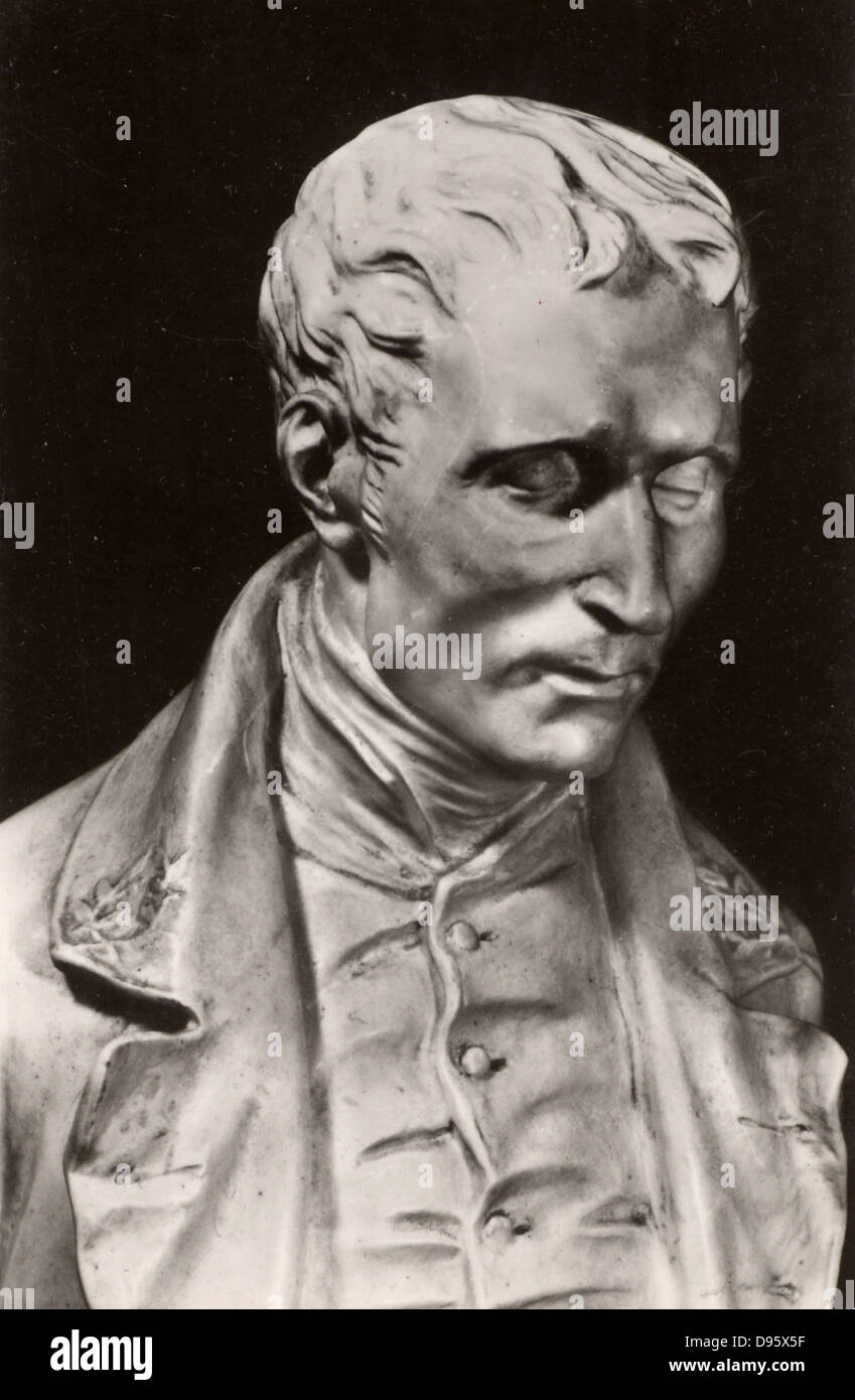 Louis Braille (1809-1852) French educationalist and inventor of a system of reading and writing for the blind using - Stock Image