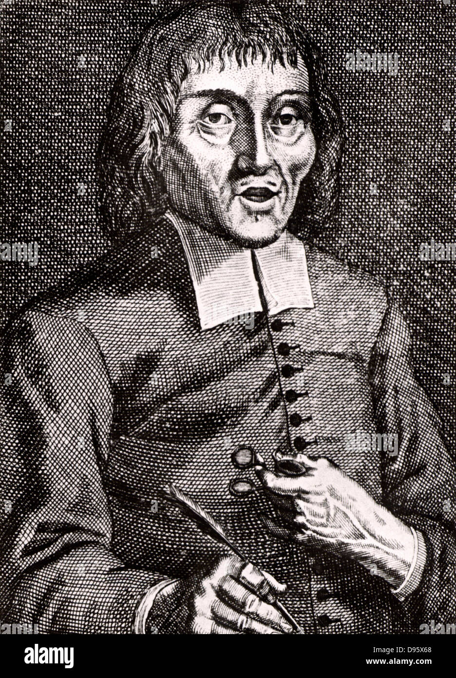 Jacob Brill (1639-1700) Dutch philosopher and follower of Spinoza.  Engraving from From 'Icones Virorum' - Stock Image