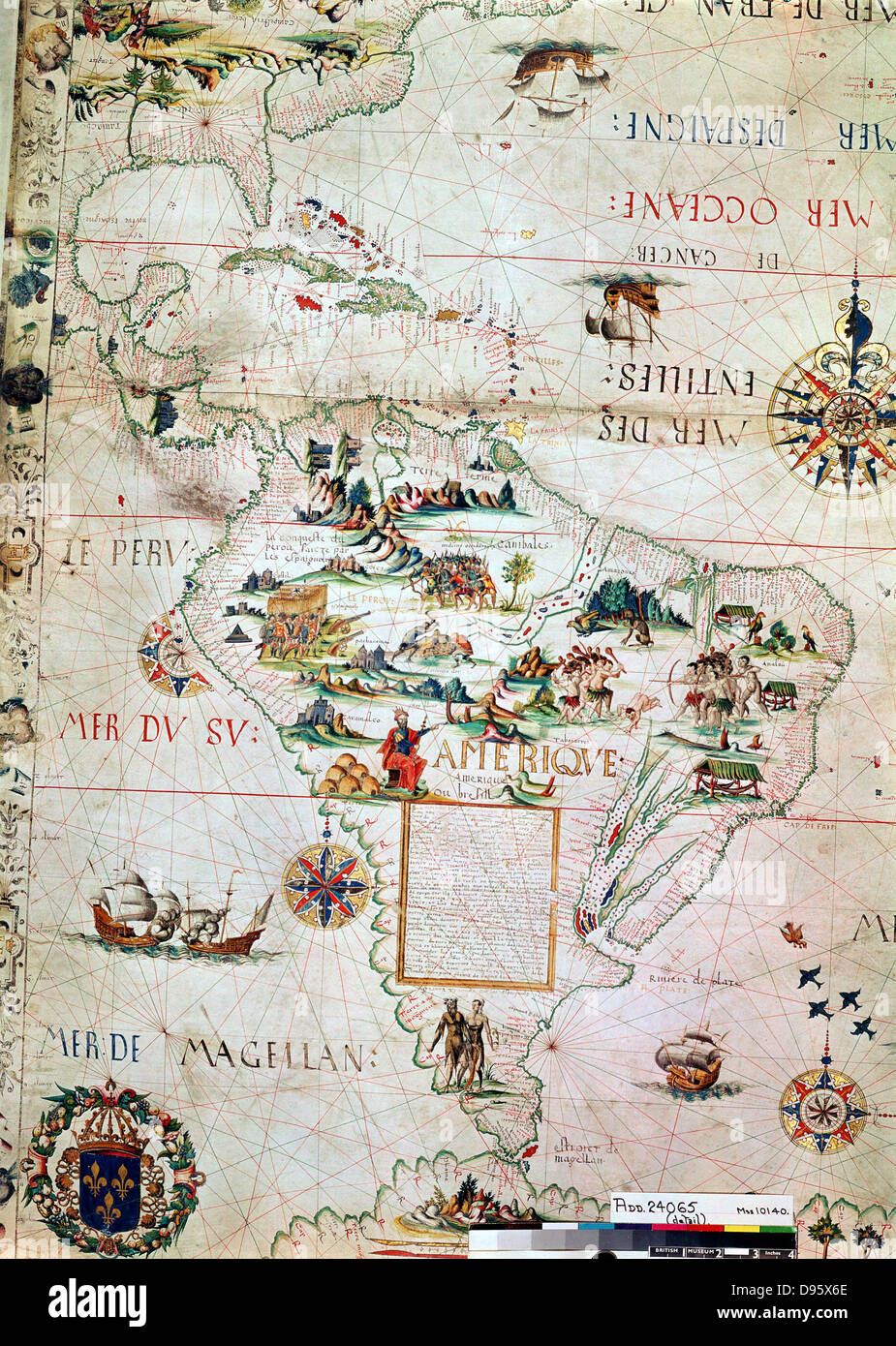 French map of Central and South America, showing Florida, Gulf of ...