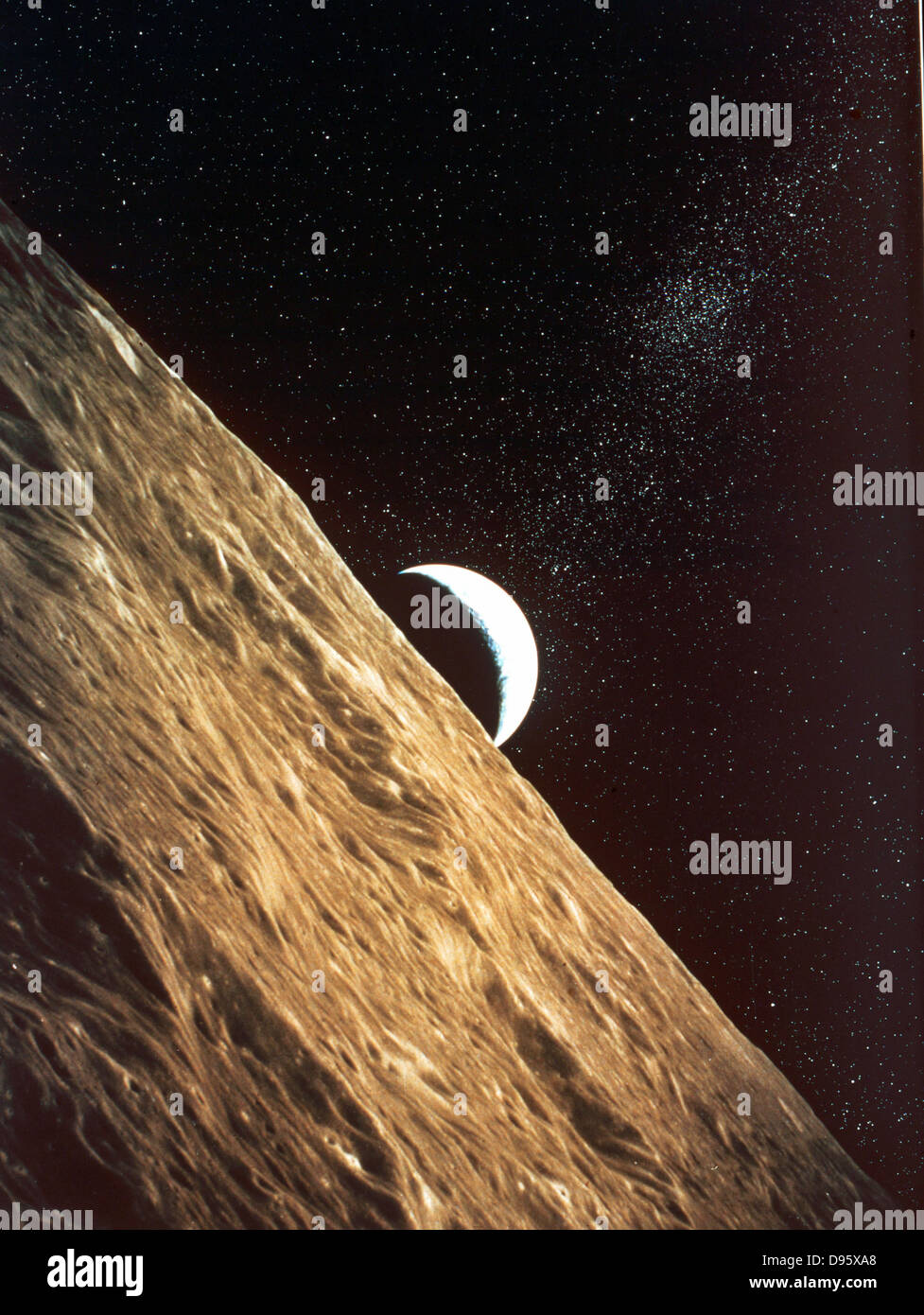 Earth rise seen from surface of Moon:  Apollo Mission 1969. NASA photograph - Stock Image