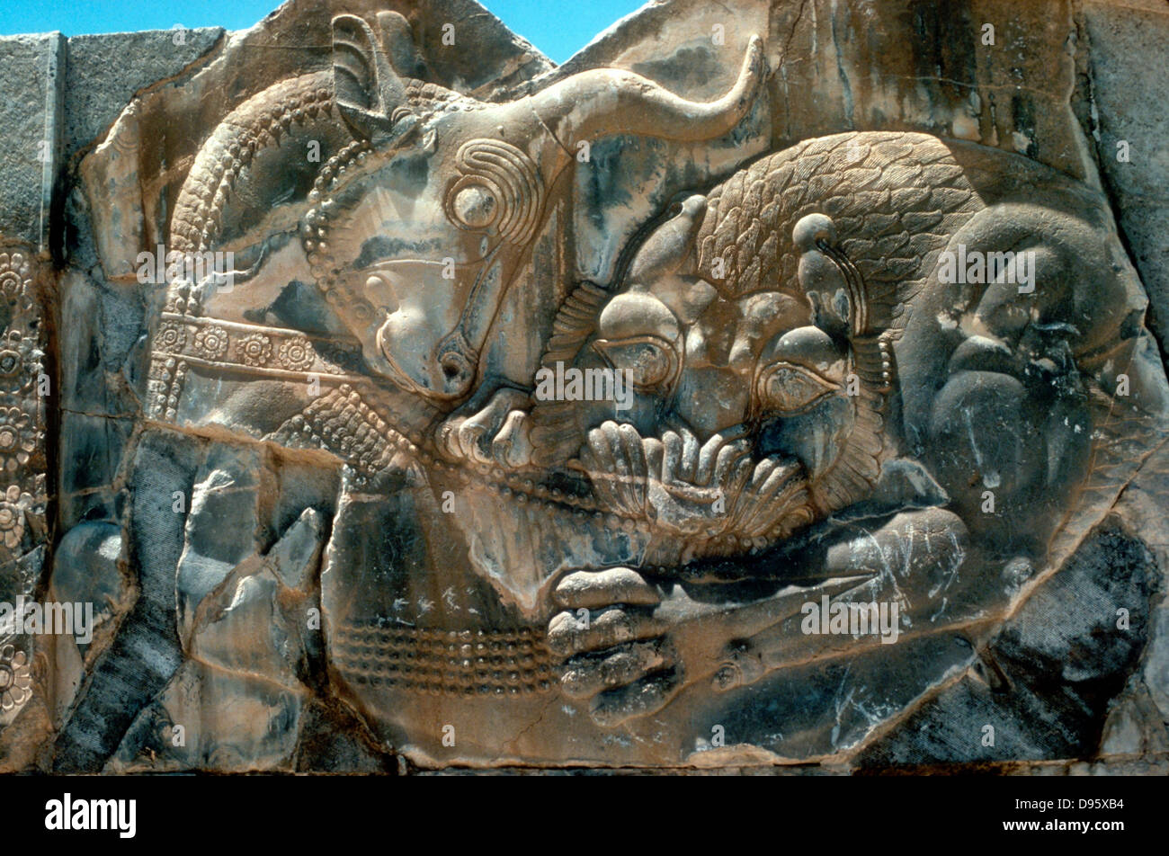 Bull and lion: Detail of carving on N wing of E stairway at palace of Persian king Xerxes I (486-465 BC) at Persepolis. - Stock Image
