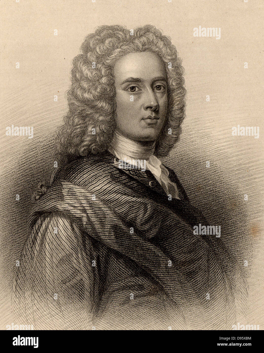 William Aikman (1682-1731) Scottish portrait painter.  Engraving from 'A Biographical Dictionary of Eminent - Stock Image