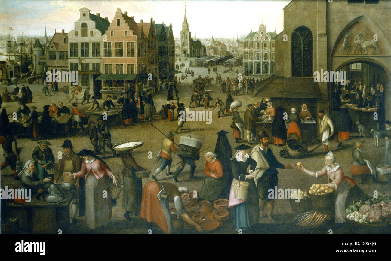View of a market place. Low countries port town, see shipping top left background.  Housewives shopping for food - Stock Image