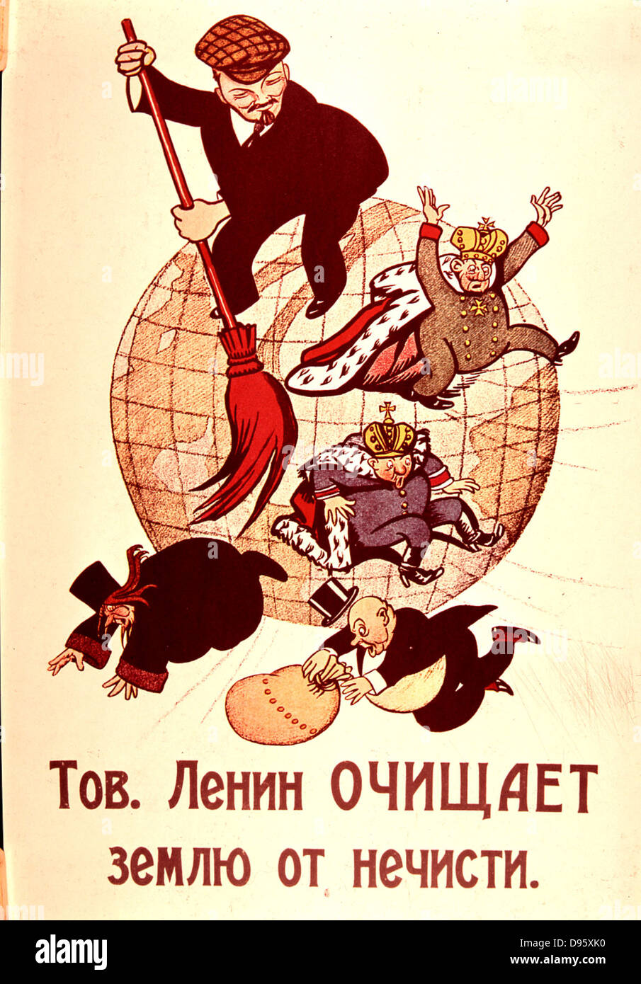 Lenin sweeping Monarchy, Church and Bourgeoise from the face of the earth. Cartoon. - Stock Image